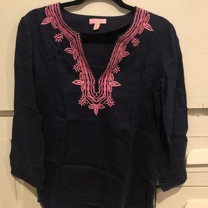 Lilly Pulitzer Embroidered Linen Top